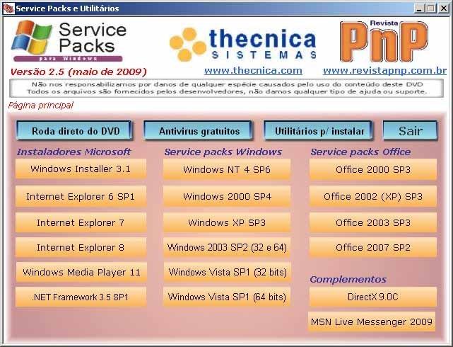 Tela principal do DVD de Service Packs e utilitários da Thecnica Sistemas