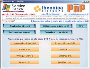 Tela do DVD de Service Packs e Utilitários
